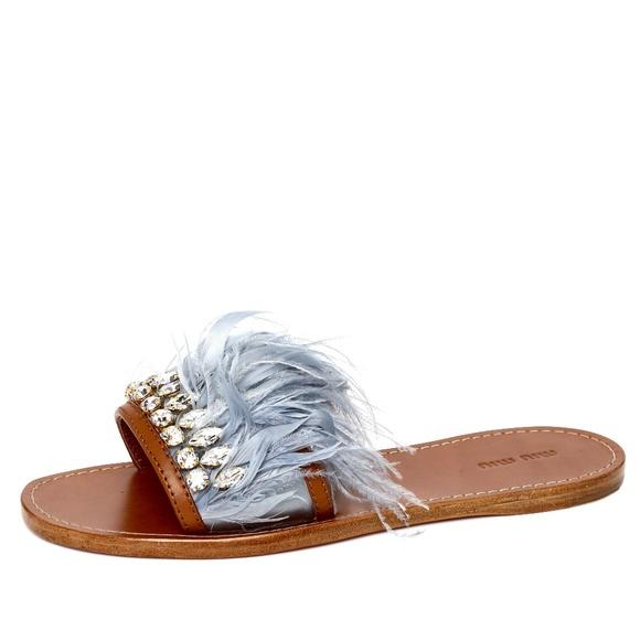 f368afe7b2 MIU MIU Shoes | Swarovski Crystal Feather Sandals Slides | Poshmark